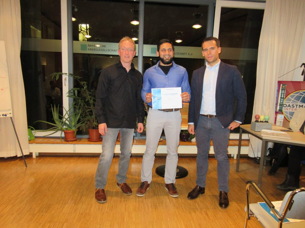 Winner Club competition Munich Toastmasters Evaluation March 2017